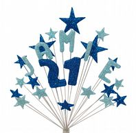 Alpha age 21st birthday cake topper decoration in shades of blue - free postage